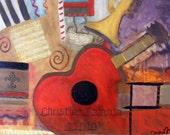 "8 X 10 ""René's Red Guitar"" Giclée Print of an Original Christina Fajardo Mixed Media on Canvas in Red, Brown and Tan"