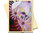 Smells Like Music - Original Art Greeting Cards -Red Guitar Series (with Lavender Flowers) Set of 4 - Blank Inside