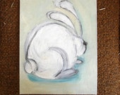 Original painting - rabbit sketch, in color, on canvasboard