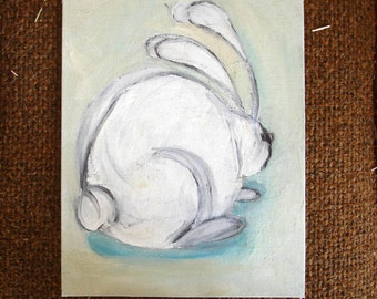 Original painting - rabbit sketch, in color, on canvasboard