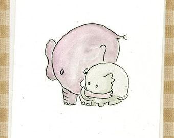 Elephant Mom and baby Blank inside notecard