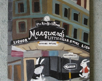 Rabbits in old San Francisco: Little Cigar Shop - Original Painting