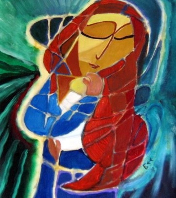 Original abstract painting, Red Haired Madonna, contemporary art, mother and child, modern icon
