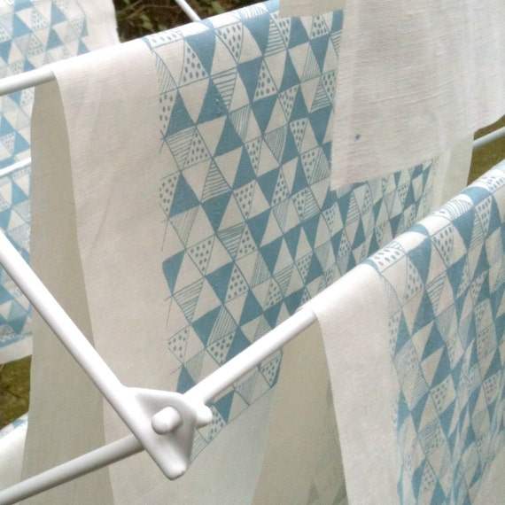 Duck Egg Blue Triangle Mania screen printed fabric