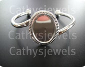 Polished Silver Orleans Bracelet Blank Setting 25x18                                                     (f25)