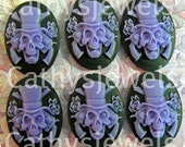 Unset Loose Skull Cameos Guns and RosesPurple On  Black Set Of Six 25x18