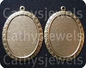 Aztec Design Cameo Setting Antiqued Goldtone 40x30 Set Of Three