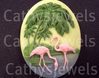 One  40X30  Really Really Retro Flamingo Cabochon