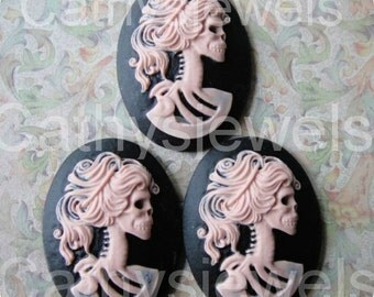 Unset Cameo Lolita Day Of The Dead Goddess  Portrait Set Of Three