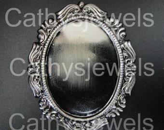 Six  Fancy Brooch Settings 25x18 Antiqued Silver