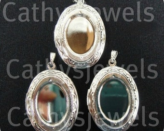 Polished Silvertone Locket Settings Set Of Three
