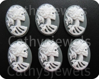 Portrait Cameo  Ivory Lolita  White On Gray 18x13 Set Of Six