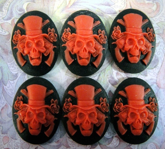 Unset Loose Skull Cameos Guns and Roses Red on Black Set Of Six 25x18
