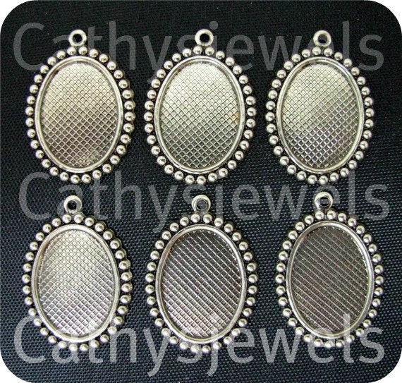 Cameo Jewelry Settings  Beaded Edge Ant.Silver 18x13