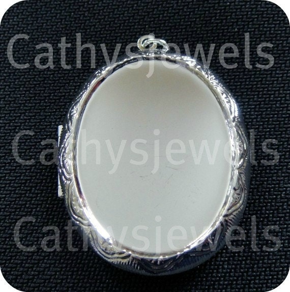 Locket Setting Polished Silver  40x30