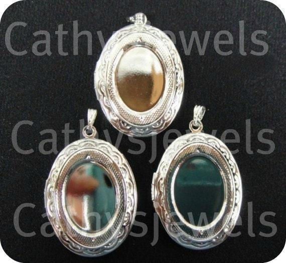 Polished Silvertone Locket Settings Set Of Three