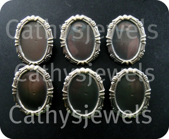 Fancy Antiqued Gold Cameo Cab Setting Bail And Pin 25x18 Set Of Six