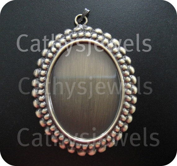 Beaded Edge 40x30 Cameo Antiqued Gold Settings With Bail