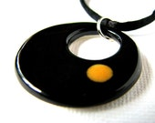 Necklace - Retro Black and Honey Clay\/Pottery Pendant