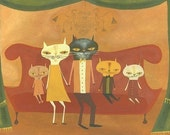 retro cat art - Family Portrait.  Limited edition 8.5x11 print by Matte Stephens.