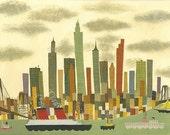 Manhattan.  Original painting by Matte Stephens.