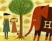 The Abernathy family & Humbert the rare red sweater wearing elephant.  Limited edition 13x19 print