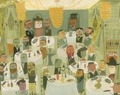 """An Edwardian Dinner Party.  Limited edition 24""""x32"""" print by Matte Stephens."""
