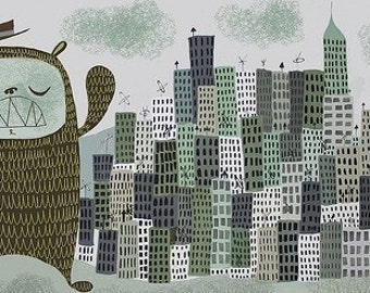 The Giant Suburban Bear Monster visits Chicago. Open edition print by Matte Stephens.