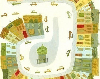 A happy town in France.  Open edition print by Matte Stephens.