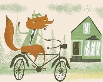 The Duke Of NY riding his bike. Open edition print by Matte Stephens.