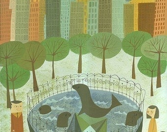 Visiting the sea lions in Central Park. Limited edition print by Matte Stephens