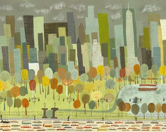 "Central Park.  Limited edition 24""x36"" print by Matte Stephens."