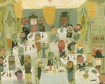 An Edwardian Dinner Party.  Limited edition print by Matte Stephens.