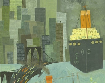 Lower New York Harbor.   Limited edition print of an original  painting by Matte Stephens.