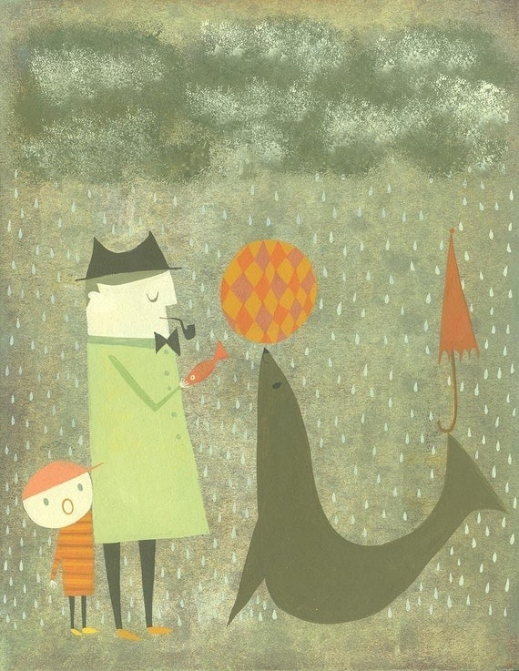 We found a fish for you, could we please have our umbrella back.  Limited edition 11x14 print by Matte Stephens.
