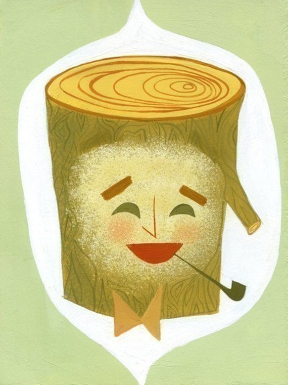 Charles Eames as a log. limited edition print by Matte Stephens