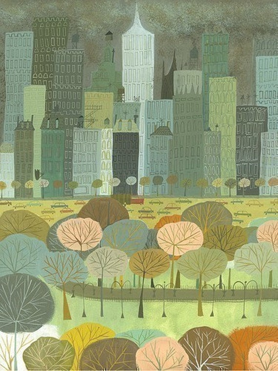 Autumn in New York.  Limited edition print by Matte Stephens