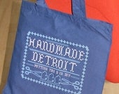 Navy Handmade Detroit Cross Stitch Design Tote Bag