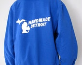 Royal Blue Handmade Detroit Zip Up Hoodie