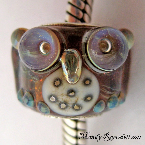 OWL European charm bead sterling silver core lampwork glass handmade by Mandy Ramsdell
