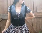 vintage black velvet tuxedo vest. cropped.