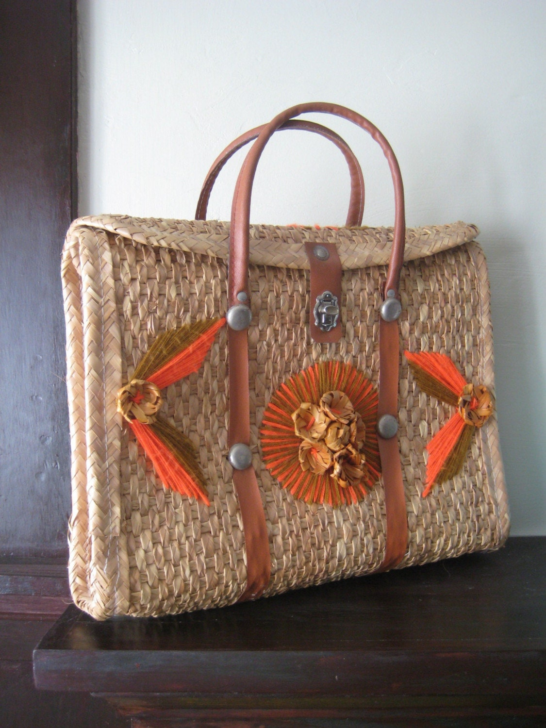 Vintage Mexican Straw Beach Bag Floral Tote