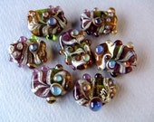 California Crafts - Bejeweled set of 7 handmade lampwork beads