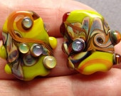 California Crafts - Green and Raku  2 handmade lampwork beads