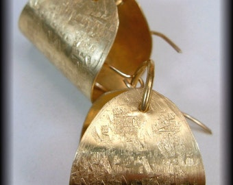 RAW SILK - Handforged Bronze  and 14KT Goldfill Textured Scoop Earrings