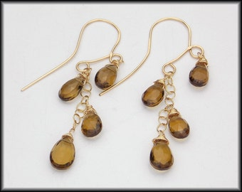 BEER QUARTZ - Handforged 14KT Goldfill - Fiery Faceted Beer Quartz Briolette Earrings