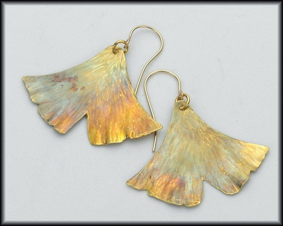 Golden GINKGO LEAVES - Handforged and Flamed Brass and 14Kt GF Ginkgo Leaf Earrings