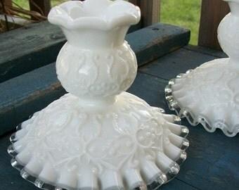 Vintage Spanish Lace Milk Glass Candle Stick Pair Fenton
