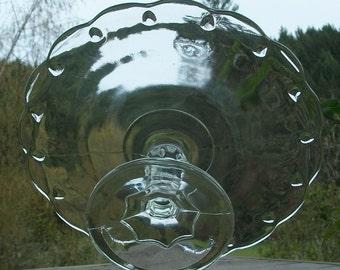 SALE Vintage Clear Teardrop Cake Stand - Vintage Wedding - Royal Hill Vintage