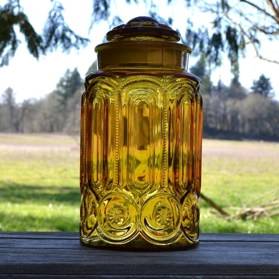 Large L E Smith Moon and Stars Amber Canister